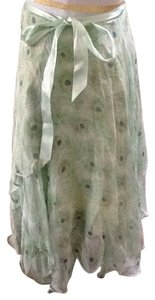 Von Vonni Silk Italian Peacock Feathers Skirt Green
