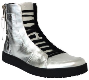Gucci 376191 High-top Leather Silver Athletic