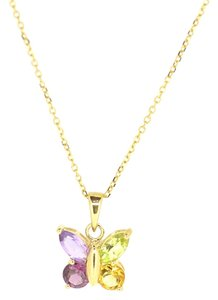 14K Yellow Gold Color Stone Butterfly Pendant Necklace 2.1 Grams 16