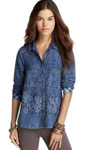Free People Chambray Flowers Flannel Pretty Button Down Shirt Blue