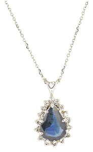 Other 14K White Gold 0.15 Diamond 2.20Ct Sapphire Pendant Necklace 3.8 Grams 16