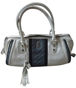 L.A.M.B. Silver Hardware Satchel in White/Pearl with Black/Grey/Silver trim/hardware