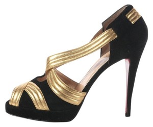 Christian Louboutin Gold Peep Toe Metallic Sandals