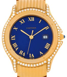Cartier Cartier Cougar 18K Yellow Gold Diamond Blue Dial Watch 11651