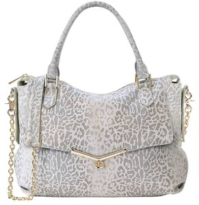 Botkier Suede Shimmer Cheetah Satchel in Grey