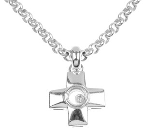 Chopard Chopard 18K White Gold Diamond Cross Necklace 792636