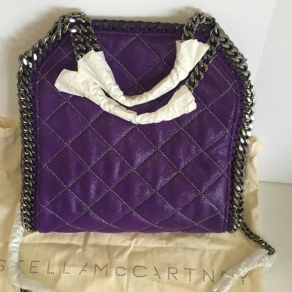 Stella McCartney Falabella Quilted Chain Logo Charm Handbag New with Tags Bright  Purple Tote - Tradesy 2a774a421d8b3