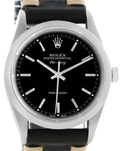 Rolex Rolex Oyster Perpetual Air King Black Leather Strap Watch 14000