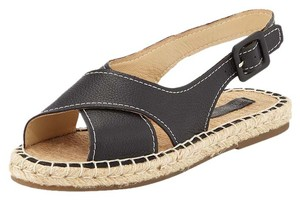 Pour La Victoire Espadrille Leather Open Toe Black Sandals
