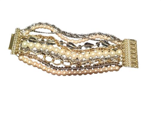 Touch of Nina Gold Pearls & Links Bracelet
