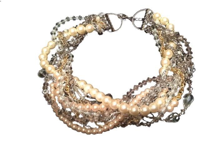 Item - Gold Silver Pearls Links Necklace