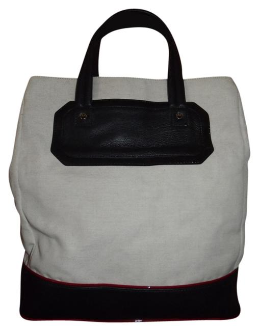 Item - X-large Tote/Travel Dustbag Excellent Soft White & Navy Canvas Leather Tote