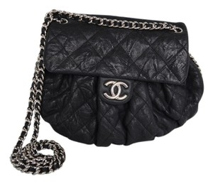 Chanel Navy Distressed Calfskin Chain Around Medium Cross Body Bag