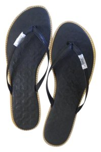 Coach Wedge Summer Sandal Black Leather Flats