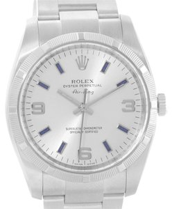 Rolex Rolex Oyster Perpetual Air King Silver Dial Blue Markers Watch 114210