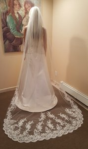 Gorgeous 1 Tier Cathedral Lace Veil With Metal Comb