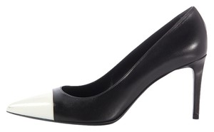 Saint Laurent Two-tone Ysl Sl.ek0203.17 Cap Toe Pointed Toe Black Pumps