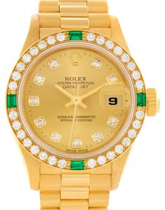 Rolex Rolex President Datejust 18K Yellow Gold Diamonds Emeralds Watch 69078