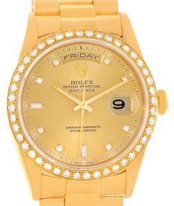 Rolex Rolex President Day Date Mens 18k Yellow Gold Diamond Watch 18348