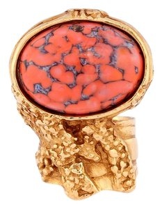 Saint Laurent Coral Arty Oval Ring