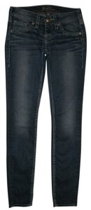 Silver Jeans Co. 5 Pocket Zip Fly Dark Wash Low Rise Aiko Skinny Skinny Jeans-Dark Rinse