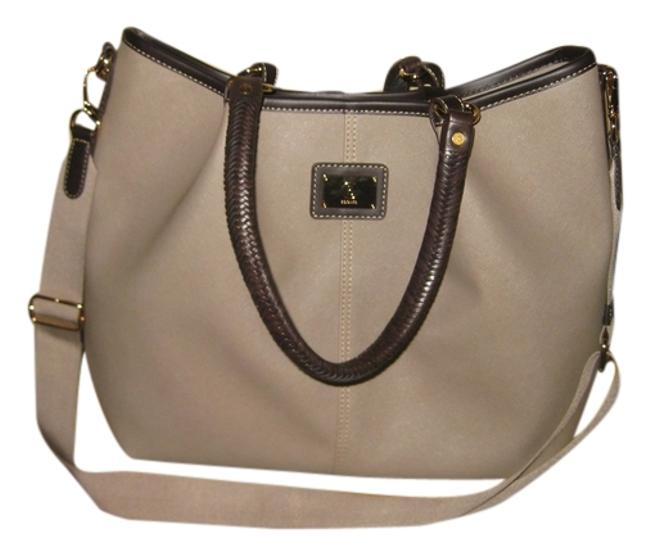 Item - Crossing Lilly Tote Taupe Canvas Coated Cross Body Bag