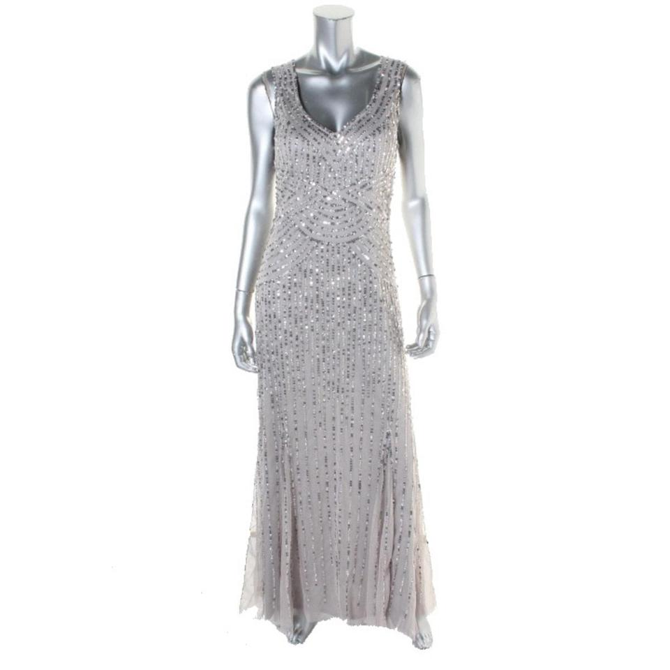 Patra Womens New with Tags Silver Sequined Prom Sheer Evening Gown ...