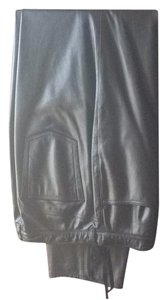 Leather Jones New York Balck Career Party Winter Straight Pants Black leather