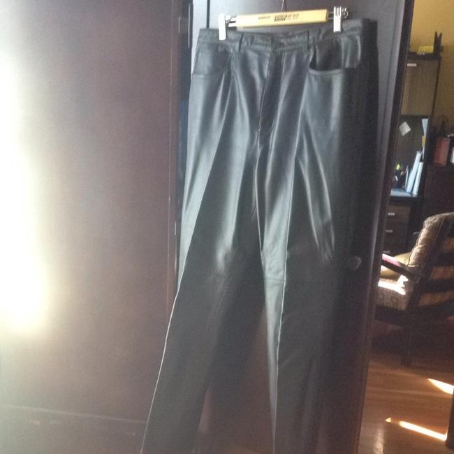 Leather Jones New York Career Party Winter Straight Pants Black leather