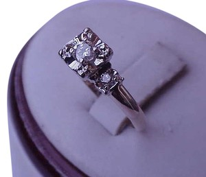 Vintage Art Deco Ladies 14K White and Yellow Gold .30ct Diamond Engagement Ring