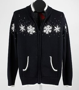 Other Snowflake Xl Black White Beaded Embroidered Snowflake Cardigan B39 Sweater