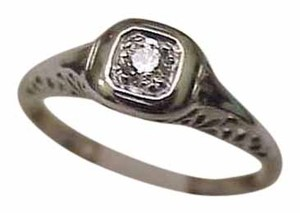 Other Incredible works of Art, Antique Platinum Filigree Ring: .20ct Solitaire Diamond VSF, 1920s