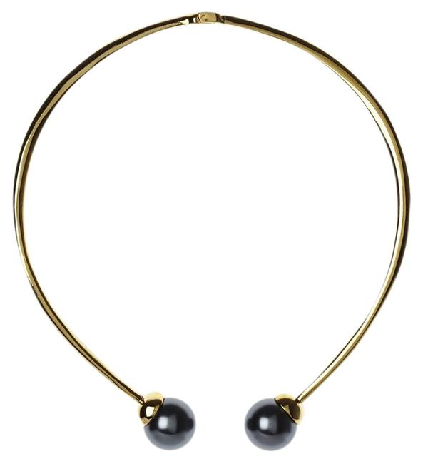 Item - Gold and Grey Faux Pearl Plate Hinge Closure With Necklace