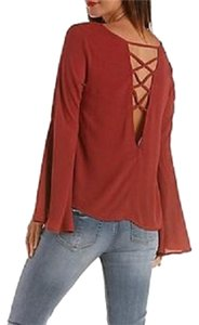 Charlotte Russe Bell Gypsy Festival Lace Up Top rust