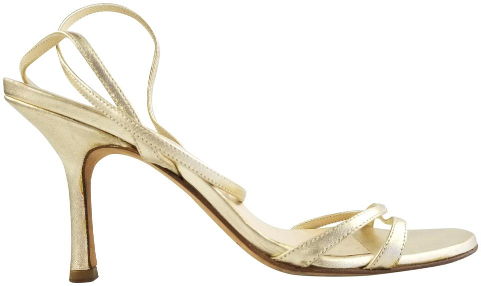 Jimmy Choo Sandals Metallic Gold Leather Strappy Sandals Choo 1b2a25