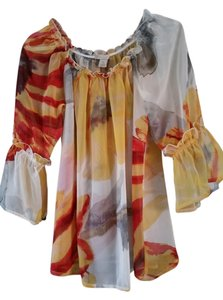 Jonathan Martin Floral Summer Top White, Yellow, Red