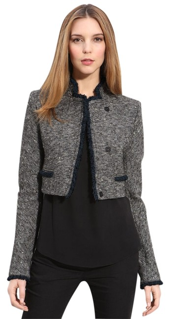 Item - Black Beige and Blue Myleen Sessile Tweed Blazer Size 2 (XS)