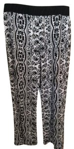 New Directions Dress Comfy Wide Leg Pants White/Black print