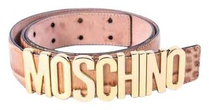 Moschino *Moschino Brown Lettered Croc-embossed Leather BeltSize 52