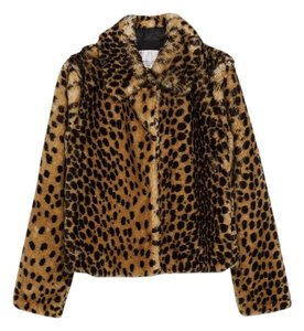 Zara Bomber Animal Print Fur Coat
