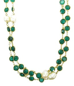 Chanel Emerald Green Crystal and Pearl Gold Plated 80