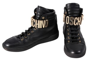 Moschino Leather Mens High Top Sneakers Black Athletic