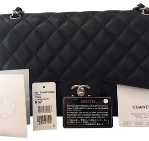 100% Authentic Chanel Jumbo Black Caviar with Silver Hardware Shoulder Bag