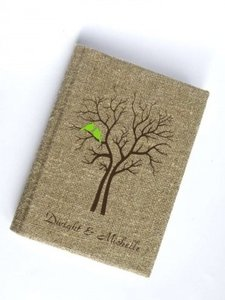 Rustic Guest Book Burlap Linen Guest Book Bridal Shower Engagement Anniversary Green Cardinals On The Reception Decoration