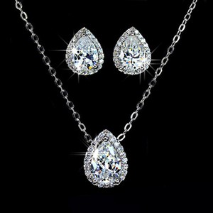 Gorgeous Bridal Cz Tear Drop Necklace Set