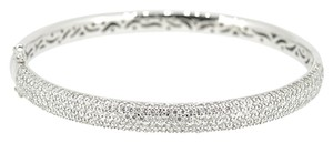 18K White Gold 3.30Ct Diamond Bangle Bracelet 21.8 Grams 7