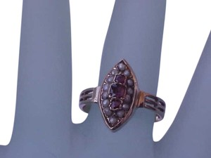 Other Antique Victorian 14K ROSE GOLD Ring:Genuine Ruby's & Genuine Seeds Pearl , Late1800's.