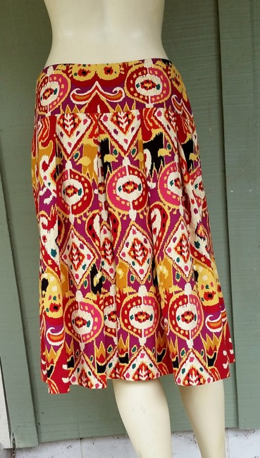 Other Colorful Cotton Ethnic Ikat Skirt Multi-colored