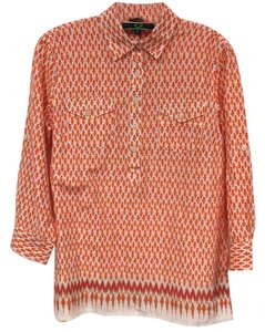 C. Wonder Button Down Shirt Orange, Tan, White, Red