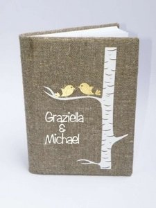 Rustic Guest Book Burlap Linen Guest Book Personalized Gold Birds On White Birch Tree Reception Decoration